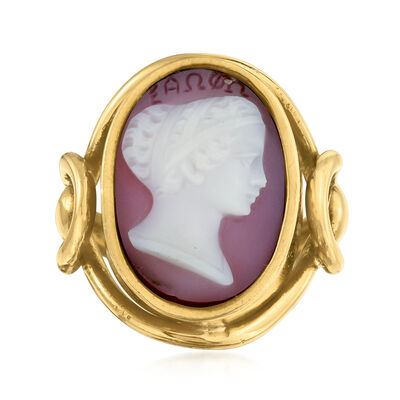 C. 1960 Vintage Red Agate Cameo Ring in 18kt Yellow Gold