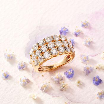 3.00 ct. t.w. Diamond Three-Row Ring in 14kt Yellow Gold, , default