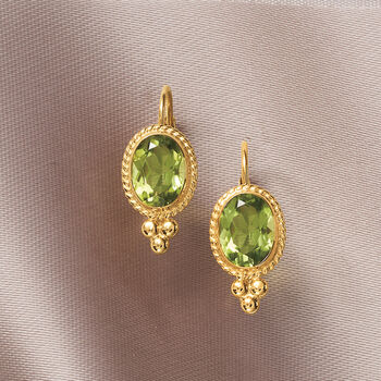 2.70 ct. t.w. Peridot Rope Edge Earrings in 14kt Yellow Gold, , default