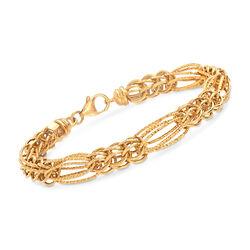 Italian 14kt Yellow Gold Round and Cestina Link Bracelet, , default