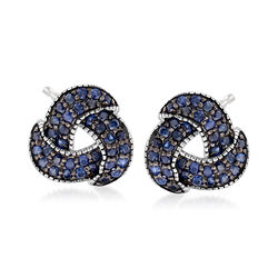 1.30 ct. t.w. Sapphire Love Knot Earrings in Sterling Silver, , default