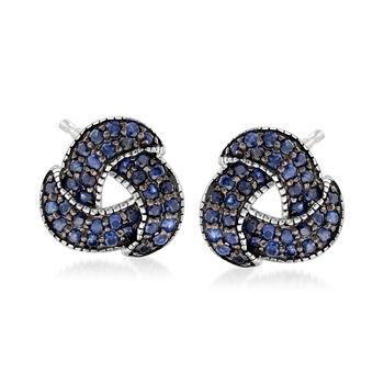 1.30 ct. t.w. Sapphire Love Knot Earrings in Sterling Silver, , default