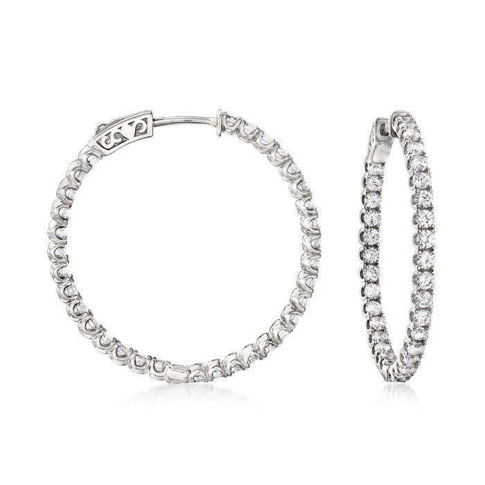 3.30 ct. t.w. CZ Inside-Outside Hoop Earrings in Sterling Silver
