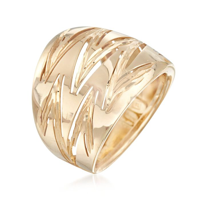 Italian 14kt Yellow Gold Zigzag Wide Ring