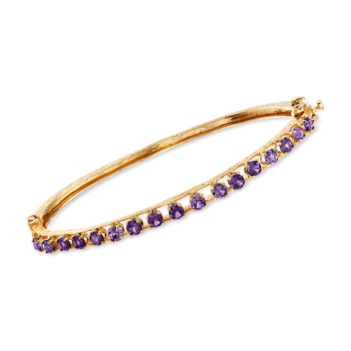 """C. 1970 Vintage Smoky Synthetic Spinel Bangle Bracelet in 14kt Yellow Gold. 7"""""""