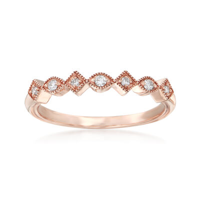 14kt Rose Gold Milgrain Ring with Diamond Accents, , default