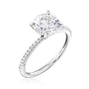 1.90 Carat Synthetic Moissanite Solitaire and .11 ct. t.w. Diamond Engagement Ring in 14kt White Gold