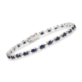 "6.50 ct. t.w. Sapphire Bracelet With Diamond Accents in Sterling Silver. 7.25"", , default"