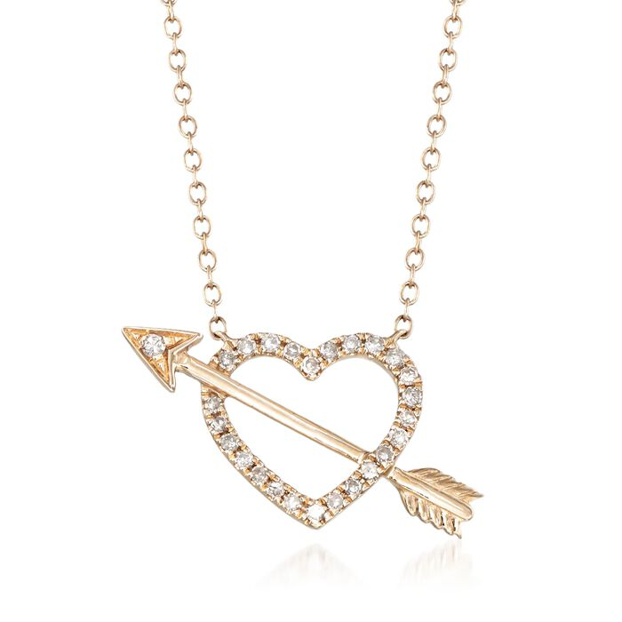 .15 ct. t.w. Diamond Openwork Heart and Arrow Necklace in 14kt Yellow Gold, , default