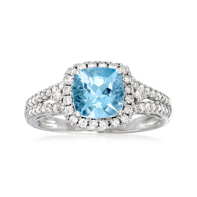 1.40 Carat Aquamarine and .44 ct. t.w. Diamond Ring in 14kt White Gold, , default