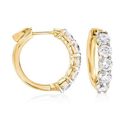 3.00 ct. t.w. Diamond Hoop Earrings in 14kt Yellow Gold
