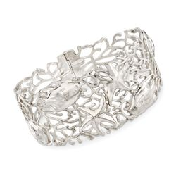 "Sterling Silver Openwork Coral Reef Bangle Bracelet. 7.5"", , default"