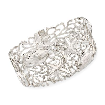 Sterling Silver Openwork Coral Reef Bangle Bracelet, , default