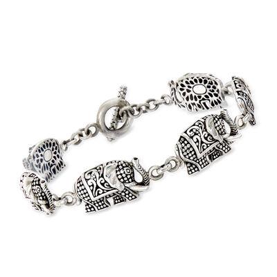 Sterling Silver Bali-Style Elephant Toggle Bracelet, , default