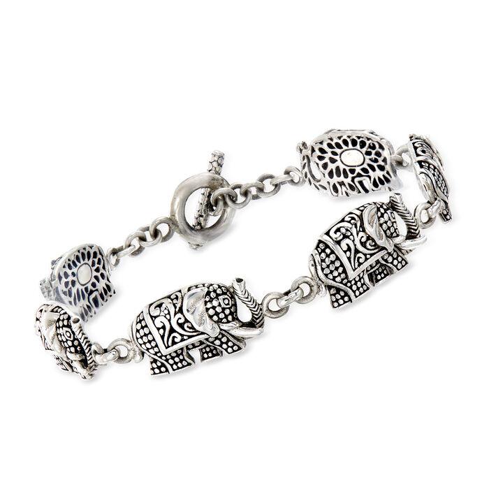 Sterling Silver Bali-Style Elephant Toggle Bracelet