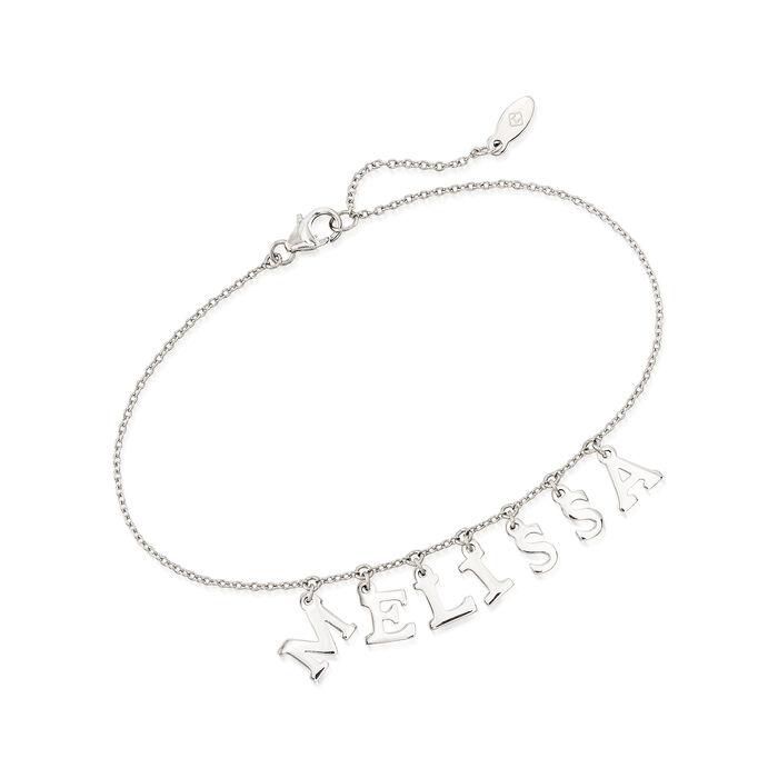 """Sterling Silver Letter-Charm Name Bracelet. 7.5"""", , default"""