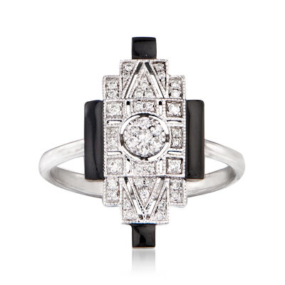 Black Onyx and .15 ct. t.w. Diamond Ring in 18kt White Gold