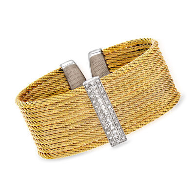 "ALOR ""Classique"" .61 ct. t.w. Diamond Yellow Stainless Steel Cable Cuff Bracelet with 18kt White Gold, , default"