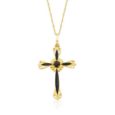 Italian Black Onyx and Black Enamel Cross Pendant Necklace in 14kt Yellow Gold, , default