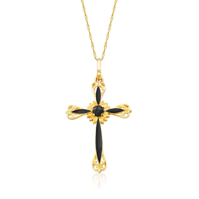 Italian Black Onyx and Black Enamel Cross Pendant Necklace in 14kt Yellow Gold