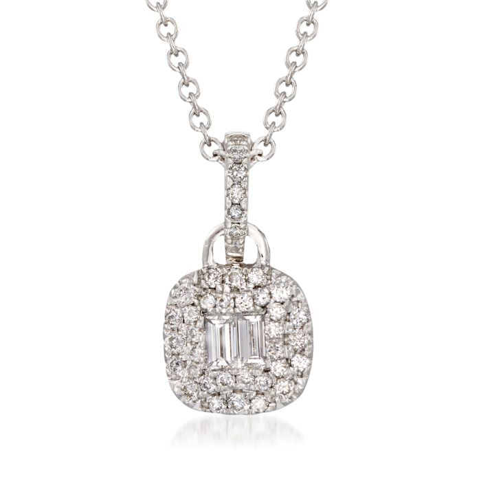 """Gregg Ruth .47 ct. t.w. Round and Baguette Diamond Necklace in 18kt White Gold. 18"""", , default"""