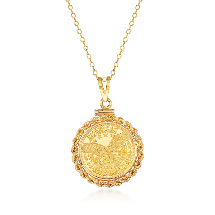 "C. 1980 Vintage 22kt Yellow Gold Bullion Coin Pendant Necklace with 14kt Yellow Gold. 18"", , default"