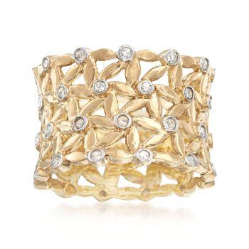 .50 ct. t.w. Diamond Bezel-Set Floral Eternity Band in 18kt Gold Over Sterling , , default