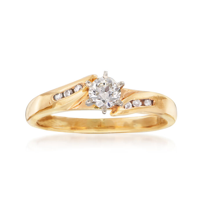 C. 1980 Vintage .33 ct. t.w. Diamond Ring in 14kt Yellow Gold. Size 7, , default