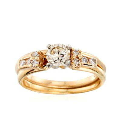C. 1990 Vintage .65 ct. t.w. Diamond Bridal Set: Engagement and Wedding Rings in 14kt and 18kt Gold, , default
