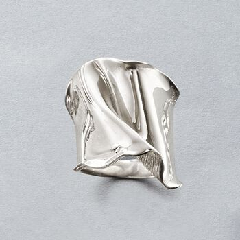 Italian Sterling Silver Wide Free-Form Ring, , default