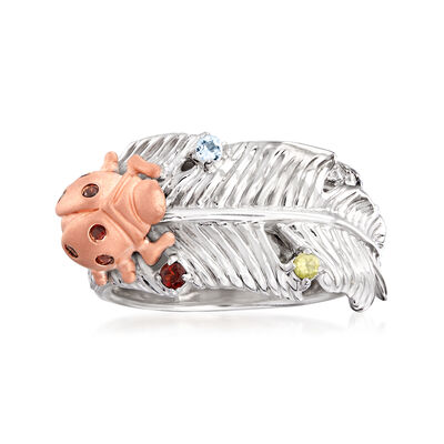 .39 ct. t.w. Multi-Gemstone Ladybug Ring in Sterling and 18kt Rose Gold Over Sterling, , default