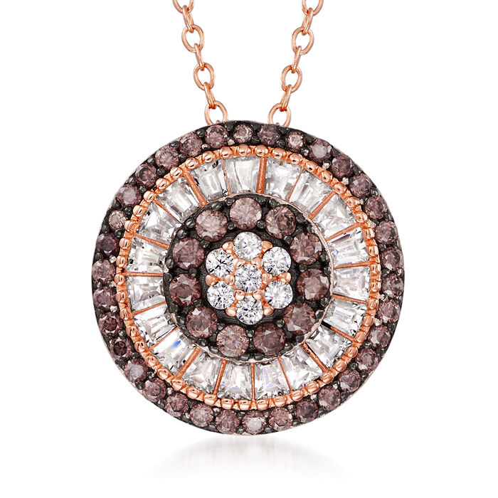 .87 ct. t.w. White and Brown CZ Circle Pendant Necklace in 18kt Rose Gold Over Sterling