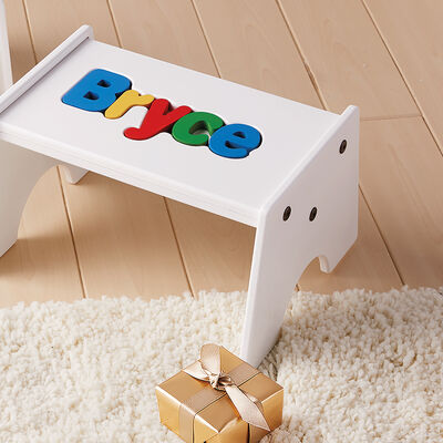 Child's Personalized Name Puzzle Stool - Primary Colors, , default
