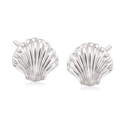14kt White Gold Scalloped Seashell Earrings, , default