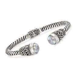"Balinese 10-10.5mm Gray Cultured Pearl Cuff Bracelet in Sterling Silver. 7.5"", , default"
