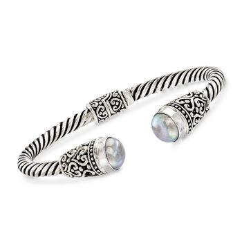 """Balinese 10-10.5mm Gray Cultured Pearl Cuff Bracelet in Sterling Silver. 7.5"""", , default"""