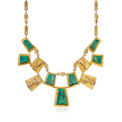 C. 1980 Vintage Malachite and 18kt Yellow Gold Bib Necklace, , default