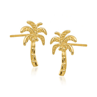 14kt Yellow Gold Palm Tree Earrings