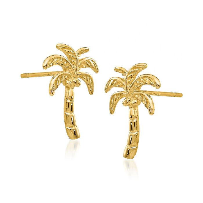 14kt Yellow Gold Palm Tree Earrings