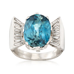 C. 1960 Vintage 7.74 Carat Blue Zircon and .40 ct. t.w. Diamond Ring in Platinum, , default