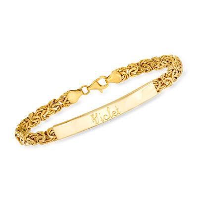 14kt Yellow Gold Byzantine Name Bar Bracelet