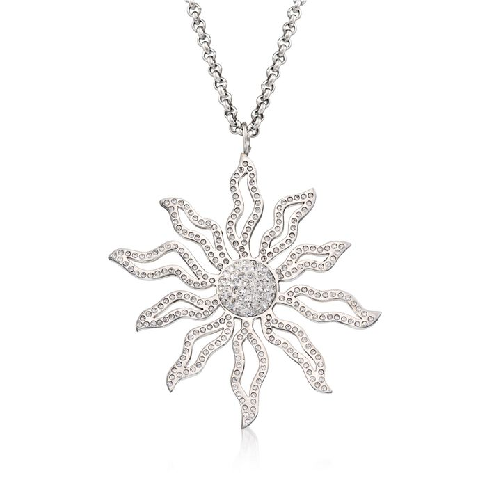 """What's Your Sign? Crystal Sun Pendant Necklace in Stainless Steel. 18"""""""