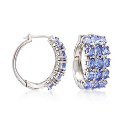 "6.50 ct. t.w. Tanzanite and .24 ct. t.w. Diamond Hoop Earrings in Sterling Silver. 7/8"", , default"