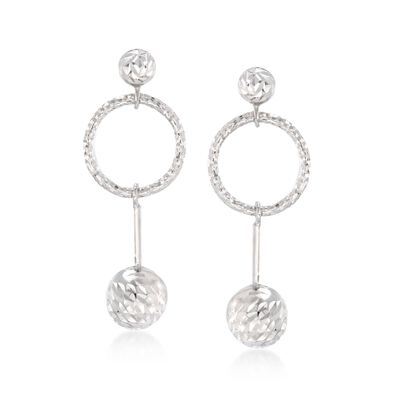 Italian Sterling Silver Diamond-Cut Bead and Open Circle Drop Earrings, , default