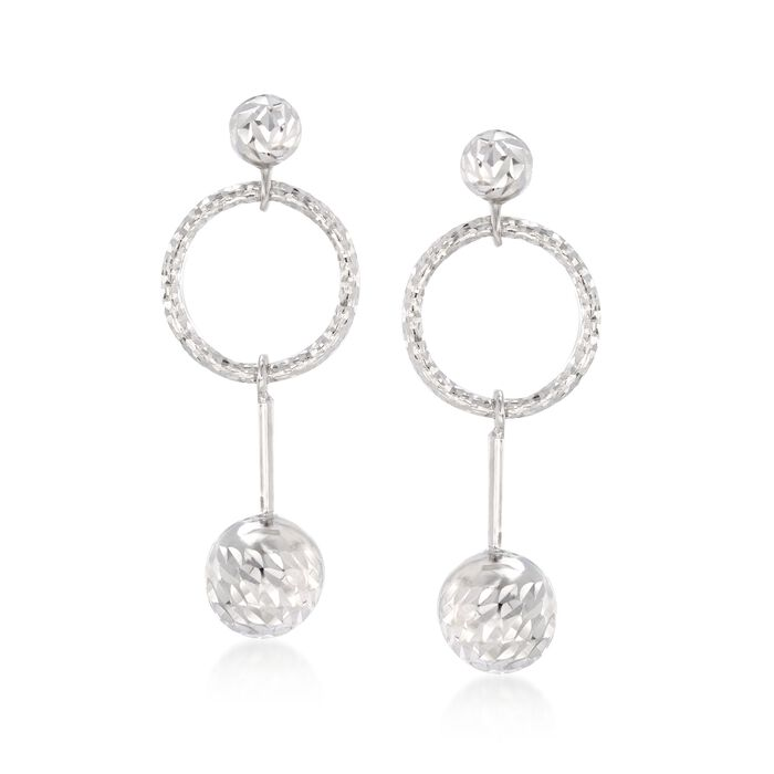 Italian Sterling Silver Diamond-Cut Bead and Open Circle Drop Earrings, , default