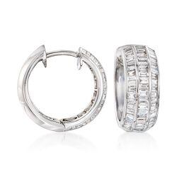 """2.00 ct. t.w. Baguette Diamond Hoop Earrings in 18kt White Gold. 5/8"""", , default"""