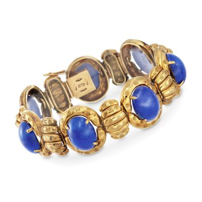 C. 1970 Vintage Cabochon Lapis Bracelet in 18kt Yellow Gold, , default