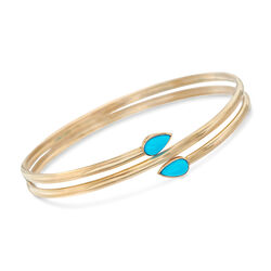 "Sleeping Beauty Turquoise Bangle Bracelet in 14kt Yellow Gold. 7"", , default"