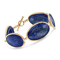 Free-Form Blue Lapis Link Bracelet in 14kt Gold Over Sterling, , default