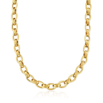 Textured and Polished 14kt Yellow Gold Link Necklace, , default